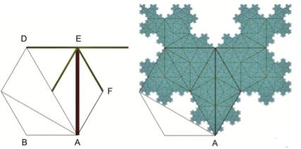Hexagon third diagonal quaternary tree
