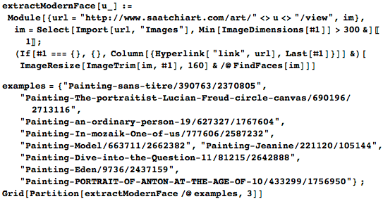 Using FindFaces to locate faces in modern portraits at Saatchi