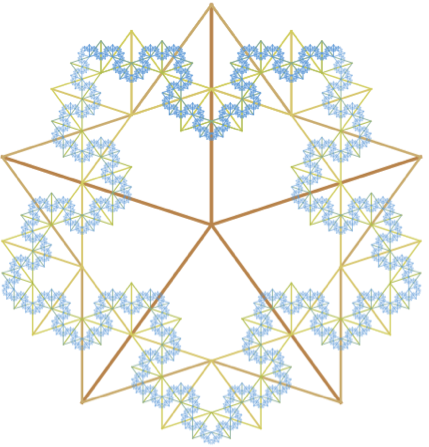 Golden ratio tree with 5-fold rotational symmetry
