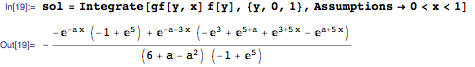 Computing the solution of the original differential equation with the given forcing term using a convolution integral on the interval [0,1]