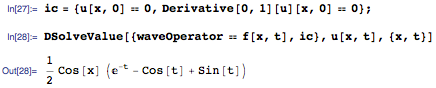 Solution obtained by using DSolveValue with homogeneous initial conditions