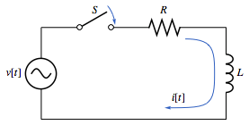 Circuit that is composed of a resistor R and an inductor L, and is driven by a time-dependent voltage v[t]