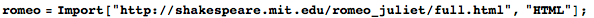 Importing text for Romeo and Juliet