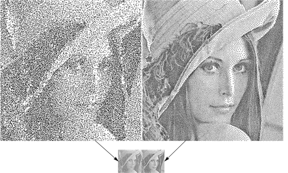 Comparing the stippling distribution two ways with the same image