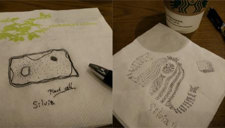 Dinnertime paper-napkin stipplings