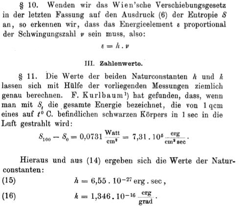 """Excerpts from """"Ueber das Gesetz der Energieverteilung im Normalspectrum"""""""