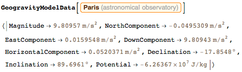 GeogravityModelData for the astronomical observatory in Paris