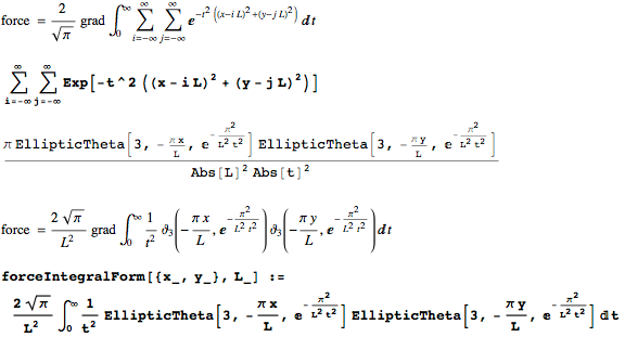 Double sum over all lattice points in terms of elliptic theta functions
