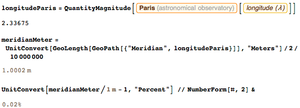 Length of the half-meridian through Paris, expressed through meters along an ellipsoid that approximates the Earth