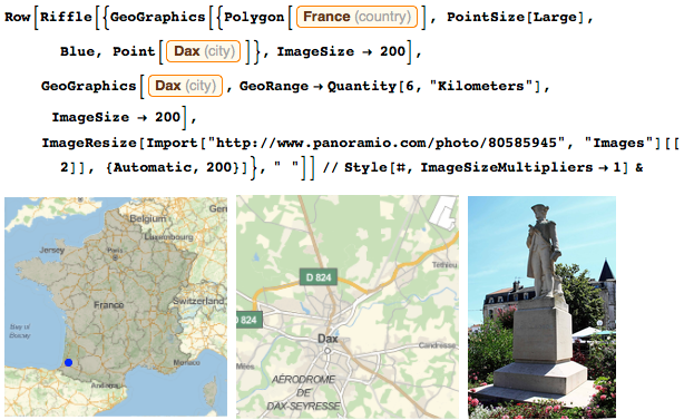 Map of Dax and statue of Jean-Charles de Borda