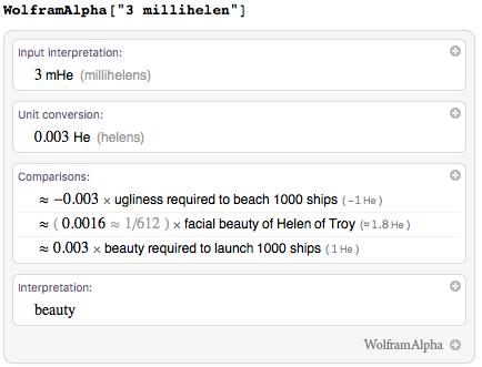 Measuring beauty in helens