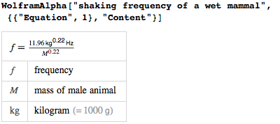 Shaking frequency of wet animal