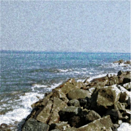 Pointillism of beach photo