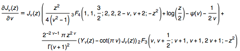 The first derivative of the Bessel J function with respect to its parameter