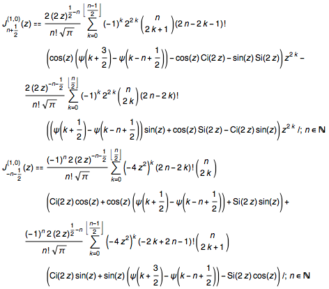 First derivatives with respect to parameter of Bessel J at arbitrary half-integer order