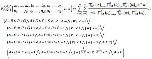 Kampé de Fériet hypergeometric function is defined by a double series