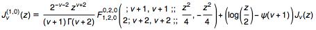 First derivative of Bessel J with respect to parameter in terms of Kampé de Fériet