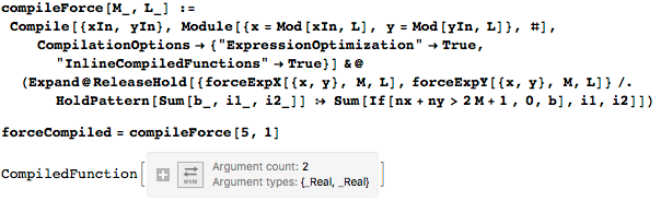 Dropping higher-order terms in the double sums to compile the force