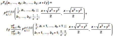 Kampé de Fériet function also arises in the separation of the real and imaginary parts of hypergeometric functions of one variable, z==x+iy
