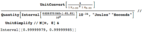Value resulting from the convential value for the von Klitzing constant and the Josephson constant
