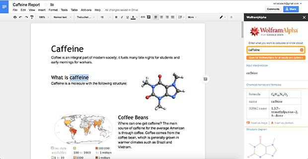 Opening a Wolfram|Alpha sidebar in Google Docs