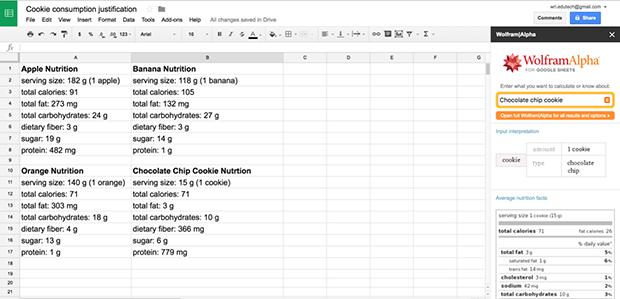 Opening a Wolfram|Alpha sidebar in Google Sheets