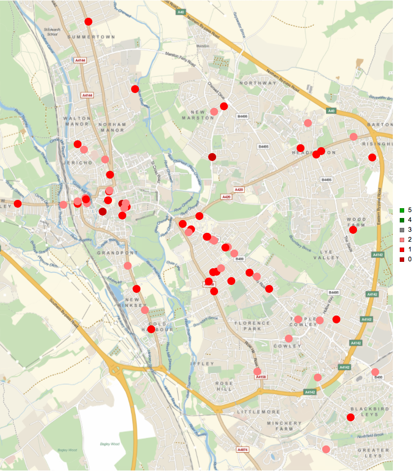 Mapping places to buy food rated with 0, 1, and 2