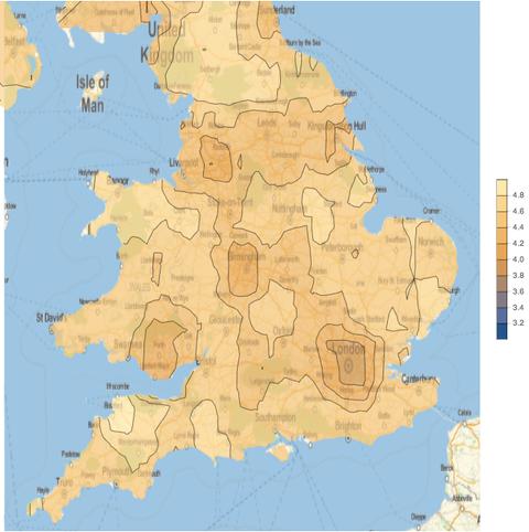 UK contour map