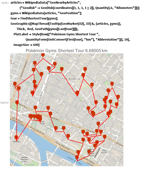 Shortest path to all probable Pokémon Gyms in Paris, courtesy of the Wolfram Language