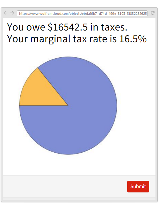You owe 16542.5 in taxes. Your marginal tax rate is 16.5%