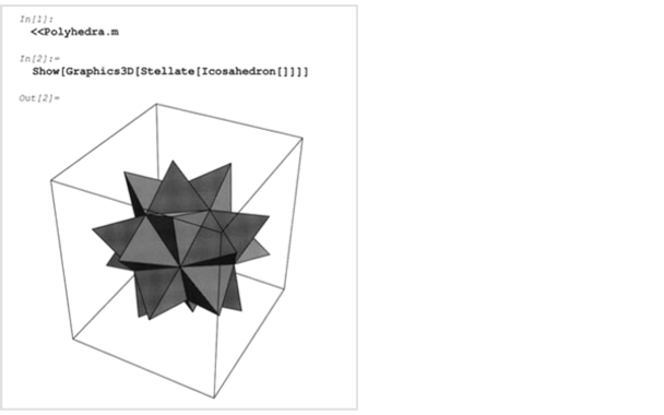 In[1]- <<Polyhedra.m   In[2]- Show[Graphics3D[Stellate[Icosahedron[]]]]