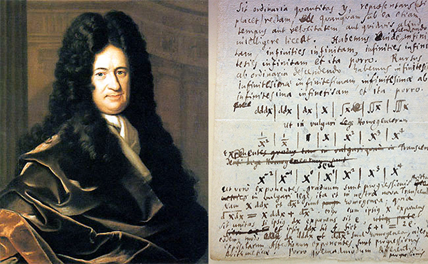 Leibniz portrait and notebook