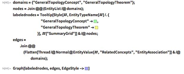 "domains = {""GeneralTopologyConcept"", ""GeneralTopologyTheorem""}; nodes = Join @@ (EntityList /@ domains); labelednodes = Tooltip[Style[#, EntityTypeName[#] /. {         ""GeneralTopologyConcept"" -> RGBColor[0.65, 1, 0.65],         ""GeneralTopologyTheorem"" -> RGBColor[1, 1, 0.5]         }], #[""SummaryGrid""]] & /@ nodes; edges = Join @@ (Flatten[        Thread /@          Normal@EntityValue[#, ""RelatedConcepts"",            ""EntityAssociation""]] & /@ domains);"
