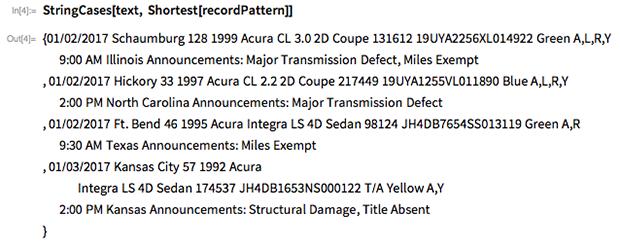 StringCases[text, Shortest[recordPattern]]