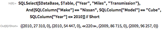 "SQLSelect[$DataBase, $Table, {""Year"", ""Miles"", ""Transmission""},    And[SQLColumn[""Make""] == ""Nissan"", SQLColumn[""Model""] == ""Cube"",     SQLColumn[""Year""] <= 2010]] // Short"