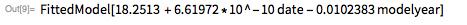 lm = LinearModelFit[modeldata, {date, modelyear}, {date, modelyear}]