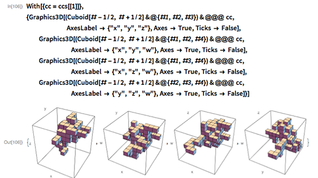 "With[{cc = ccs[[1]]},  {Graphics3D[(Cuboid[# - 1/2, # + 1/2] &@{#1, #2, #3}) & @@@ cc,                       AxesLabel -> {""x"", ""y"", ""z""}, Axes -> True,     Ticks -> False],   Graphics3D[(Cuboid[# - 1/2, # + 1/2] &@{#1, #2, #4}) & @@@ cc,                           AxesLabel -> {""x"", ""y"", ""w""}, Axes -> True,     Ticks -> False],   Graphics3D[(Cuboid[# - 1/2, # + 1/2] &@{#1, #3, #4}) & @@@ cc,                           AxesLabel -> {""x"", ""z"", ""w""}, Axes -> True,     Ticks -> False],   Graphics3D[(Cuboid[# - 1/2, # + 1/2] &@{#2, #3, #4}) & @@@ cc,                           AxesLabel -> {""y"", ""z"", ""w""}, Axes -> True,     Ticks -> False]}]"