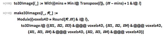 to3DImage[l_] :=   With[{mins = Min /@ Transpose[l]}, (# - mins) + 1 & /@ l]