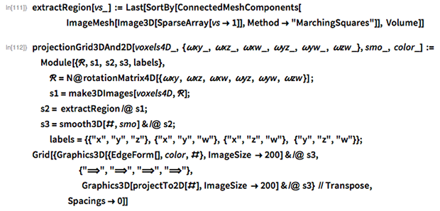 """extractRegion[vs_] := Last[SortBy[ConnectedMeshComponents[     ImageMesh[Image3D[SparseArray[vs -> 1]],       Method -> """"MarchingSquares""""]], Volume]]"""