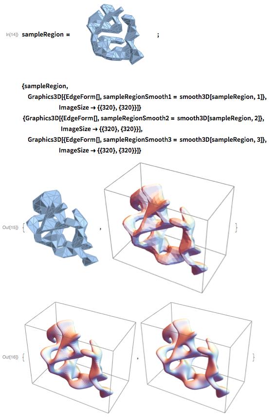 {sampleRegion,    Graphics3D[{EdgeForm[],     sampleRegionSmooth1 = smooth3D[sampleRegion, 1]},                         ImageSize -> {{320}, {320}}]}  {Graphics3D[{EdgeForm[],     sampleRegionSmooth2 = smooth3D[sampleRegion, 2]},                           ImageSize -> {{320}, {320}}],  Graphics3D[{EdgeForm[],     sampleRegionSmooth3 = smooth3D[sampleRegion, 3]},                         ImageSize -> {{320}, {320}}]}