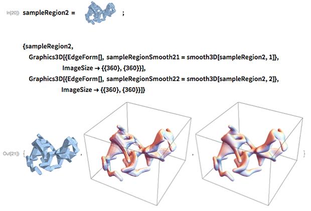 sampleRegion2 = {sampleRegion2,   Graphics3D[{EdgeForm[],     sampleRegionSmooth21 = smooth3D[sampleRegion2, 1]},                           ImageSize -> {{360}, {360}}],  Graphics3D[{EdgeForm[],     sampleRegionSmooth22 = smooth3D[sampleRegion2, 2]},                          ImageSize -> {{360}, {360}}]}