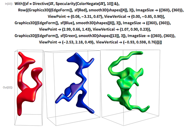 With[{sf = Directive[#, Specularity[ColorNegate[#], 10]] &},  Row[{Graphics3D[{EdgeForm[], sf[Red], smooth3D[shapes[[4]], 3]},      ImageSize -> {{360}, {360}},                                 ViewPoint -> {0.08, -3.31, 0.67},      ViewVertical -> {0.00, -0.85, 0.90}],    Graphics3D[{EdgeForm[], sf[Blue], smooth3D[shapes[[8]], 3]},      ImageSize -> {{360}, {360}},                    ViewPoint -> {2.99, 0.66, 1.43},      ViewVertical -> {1.07, 0.90, 0.23}],    Graphics3D[{EdgeForm[], sf[Green], smooth3D[shapes[[13]], 3]},      ImageSize -> {{360}, {360}},                    ViewPoint -> {-2.53, 2.18, 0.49},      ViewVertical -> {-0.93, 0.598, 0.76}]}]]