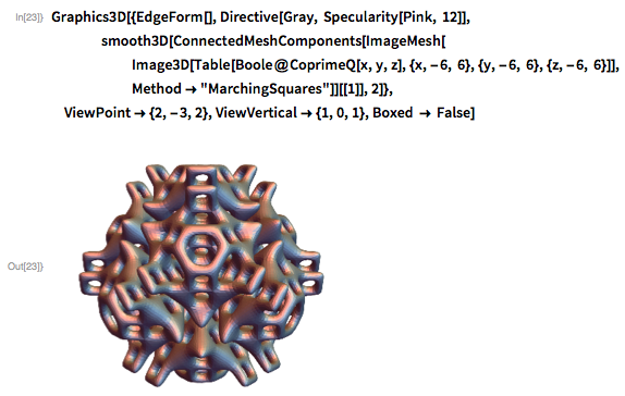 """Graphics3D[{EdgeForm[], Directive[Gray, Specularity[Pink, 12]],             smooth3D[ConnectedMeshComponents[ImageMesh[       Image3D[        Table[Boole@CoprimeQ[x, y, z], {x, -6, 6}, {y, -6, 6}, {z, -6,           6}]],       Method -> """"MarchingSquares""""]][[1]], 2]},  ViewPoint -> {2, -3, 2}, ViewVertical -> {1, 0, 1}, Boxed -> False]"""