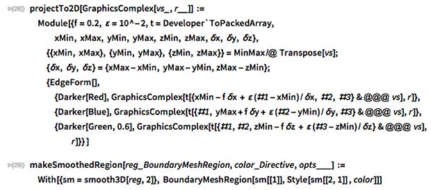 projectTo2D[GraphicsComplex[vs_, r__]] :=   Module[{f = 0.2, \[CurlyEpsilon] = 10^-2, t = Developer`ToPackedArray,    xMin, xMax, yMin, yMax, zMin,     zMax, \[Delta]x, \[Delta]y, \[Delta]z},   {{xMin, xMax}, {yMin, yMax}, {zMin, zMax}} = MinMax /@ Transpose[vs];   {\[Delta]x, \[Delta]y, \[Delta]z} = {xMax - xMin, yMax - yMin,      zMax - zMin};   {EdgeForm[],    {Darker[Red],      GraphicsComplex[      t[{xMin -            f \[Delta]x + \[CurlyEpsilon] (#1 -                xMin)/\[Delta]x, #2, #3} & @@@ vs], r]},     {Darker[Blue],      GraphicsComplex[      t[{#1, yMax +            f \[Delta]y + \[CurlyEpsilon] (#2 - yMin)/\[Delta]y, #3} & @@@         vs], r]},    {Darker[Green, 0.6],      GraphicsComplex[      t[{#1, #2,           zMin - f \[Delta]z + \[CurlyEpsilon] (#3 -                zMin)/\[Delta]z} & @@@ vs], r]}} ]