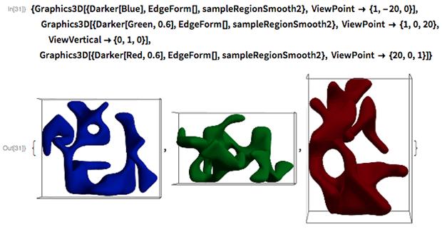 {Graphics3D[{Darker[Blue], EdgeForm[], sampleRegionSmooth2},    ViewPoint -> {1, -20, 0}],   Graphics3D[{Darker[Green, 0.6], EdgeForm[], sampleRegionSmooth2},    ViewPoint -> {1, 0, 20}, ViewVertical -> {0, 1, 0}],  Graphics3D[{Darker[Red, 0.6], EdgeForm[], sampleRegionSmooth2},    ViewPoint -> {20, 0, 1}]}