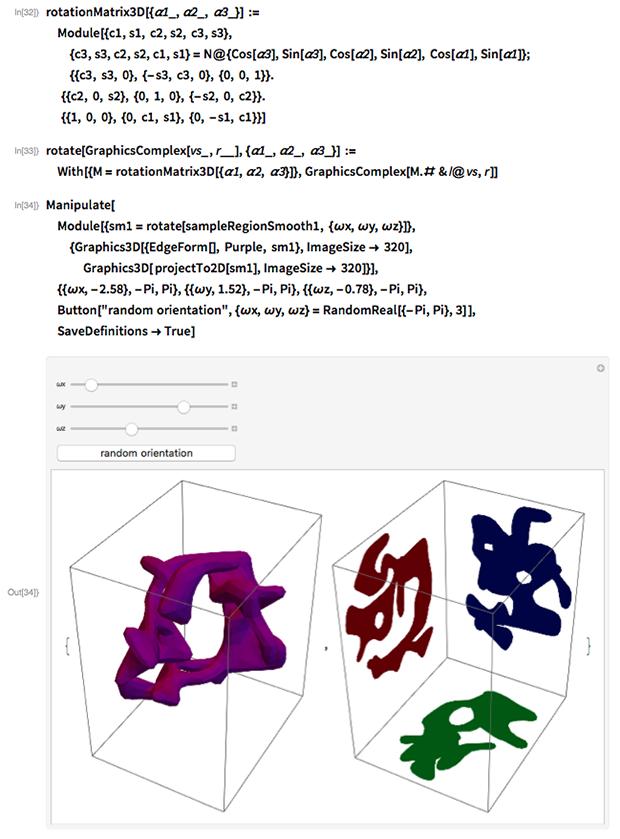 rotationMatrix3D[{\[Alpha]1_, \[Alpha]2_, \[Alpha]3_}] :=   Module[{c1, s1, c2, s2, c3, s3},   {c3, s3, c2, s2, c1, s1} =     N@{Cos[\[Alpha]3], Sin[\[Alpha]3], Cos[\[Alpha]2], Sin[\[Alpha]2],       Cos[\[Alpha]1], Sin[\[Alpha]1]};   {{c3, s3, 0}, {-s3, c3, 0}, {0, 0, 1}}.           {{c2, 0, s2}, {0, 1, 0}, {-s2, 0, c2}}.           {{1, 0, 0}, {0, c1, s1}, {0, -s1, c1}}]
