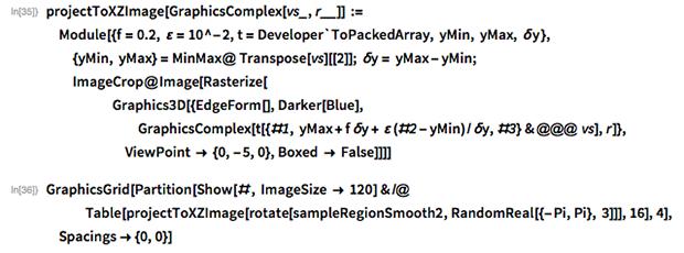 projectToXZImage[GraphicsComplex[vs_, r__]] :=   Module[{f = 0.2, \[CurlyEpsilon] = 10^-2,     t = Developer`ToPackedArray, yMin, yMax, \[Delta]y },   {yMin, yMax} = MinMax@ Transpose[vs][[2]]; \[Delta]y = yMax - yMin;   ImageCrop@Image[Rasterize[      Graphics3D[{EdgeForm[], Darker[Blue],         GraphicsComplex[         t[{#1, yMax +               f \[Delta]y + \[CurlyEpsilon] (#2 -                   yMin)/\[Delta]y, #3} & @@@ vs], r]},       ViewPoint -> {0, -5, 0}, Boxed -> False]]]]