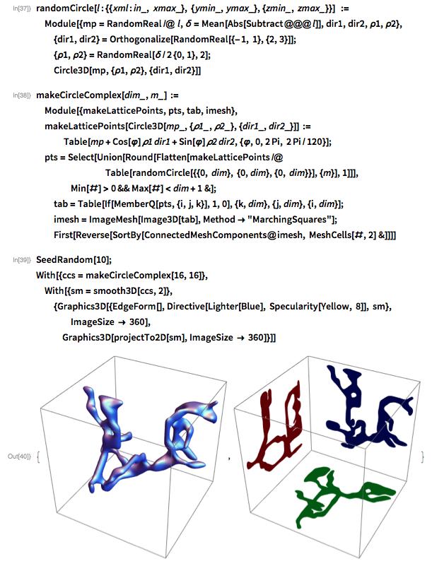 randomCircle[   l : {{xml : in_, xmax_}, {ymin_, ymax_}, {zmin_, zmax_}}]  :=    Module[{mp = RandomReal /@ l, \[Delta] = Mean[Abs[Subtract @@@ l]],     dir1, dir2, \[Rho]1, \[Rho]2},    {dir1, dir2} = Orthogonalize[RandomReal[{-1, 1}, {2, 3}]];     {\[Rho]1, \[Rho]2} = RandomReal[\[Delta]/2 {0, 1}, 2];   Circle3D[mp, {\[Rho]1, \[Rho]2}, {dir1, dir2}]]
