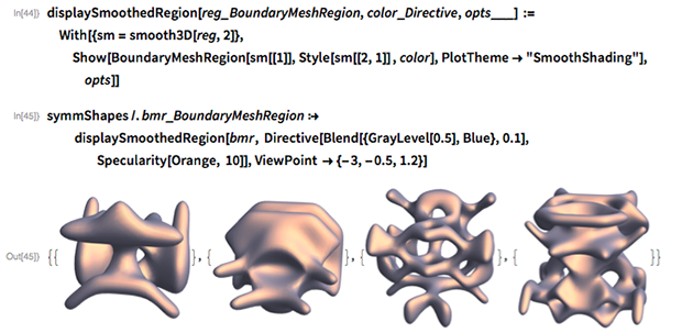 """displaySmoothedRegion[reg_BoundaryMeshRegion, color_Directive,    opts___] :=   With[{sm = smooth3D[reg, 2]},   Show[BoundaryMeshRegion[sm[[1]], Style[sm[[2, 1]] , color],      PlotTheme -> """"SmoothShading""""], opts]]"""