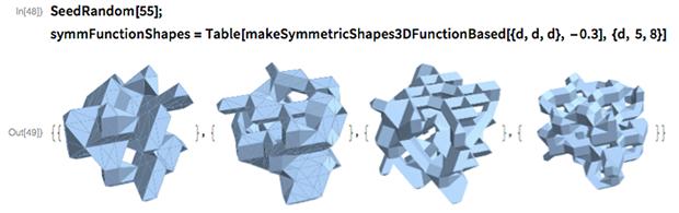 SeedRandom[55]; symmFunctionShapes =   Table[makeSymmetricShapes3DFunctionBased[{d, d, d}, -0.3], {d, 5, 8}]